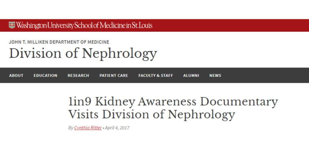 1in9 Kidney Awareness Documentary Visits Division of Nephrology