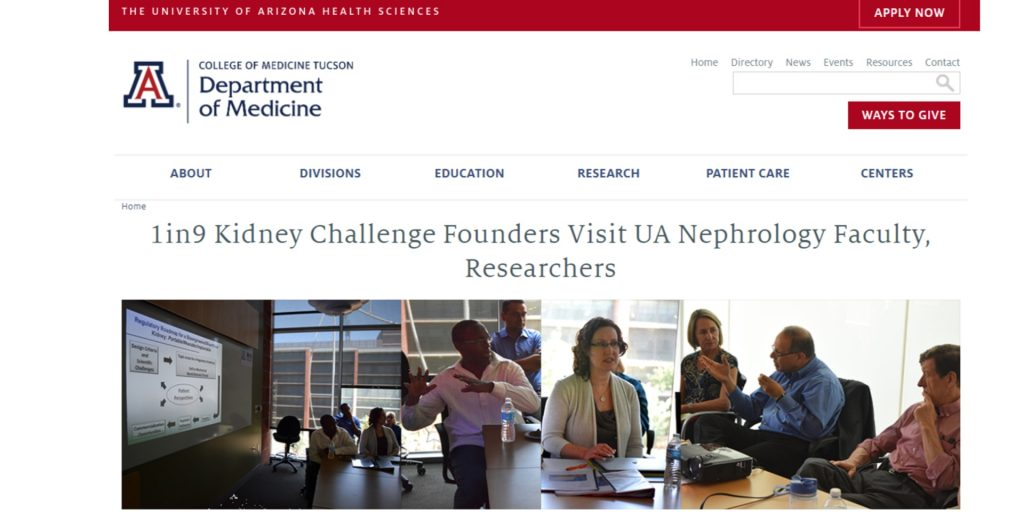 1in9 Kidney Challenge Founders Visit UA Nephrology Faculty, Researchers