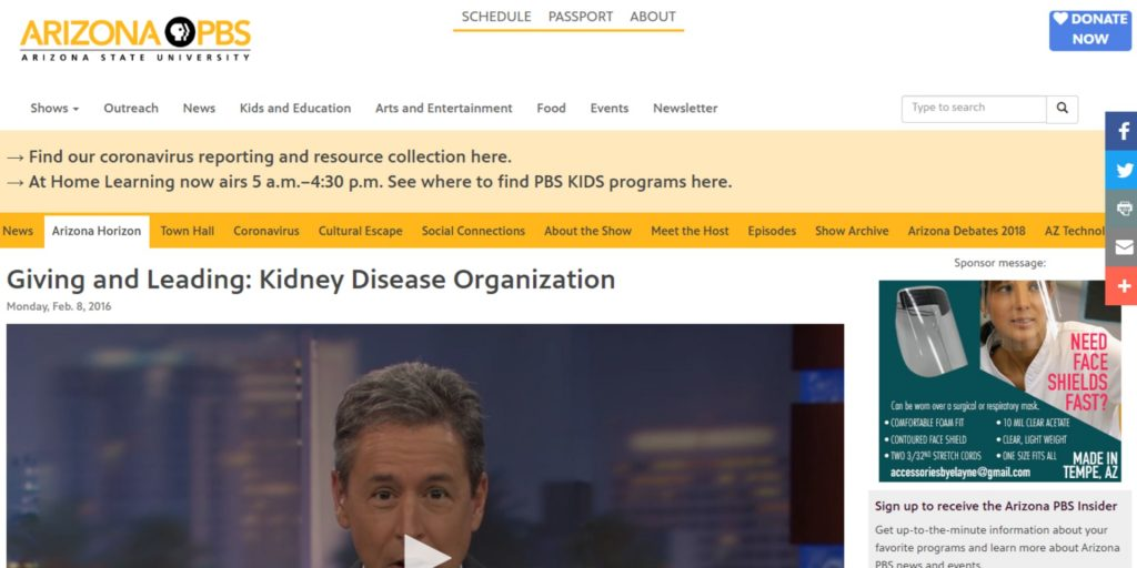 Giving and Leading: Kidney Disease Organization